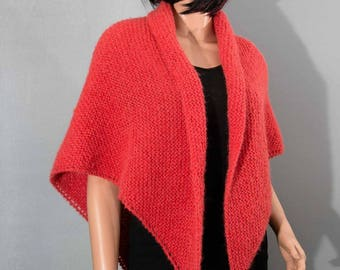 to order - shawl - scarf, coral, alpaca and silk for women