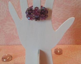Ring Metal lilac beads-