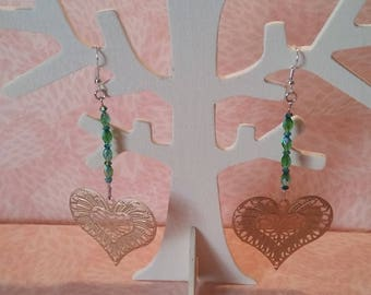 Earrings - heart gold and green beads