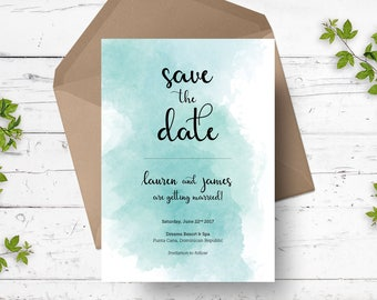 Watercolor Save the Date Announcement  | Printable