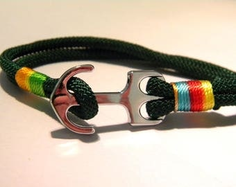 cord bracelet wax braid juxtaposes - 210 mm - customize-dark green - D35