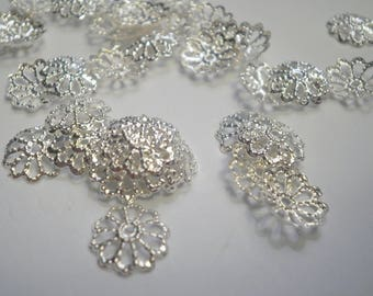 30 bead caps silver 9 mm B31