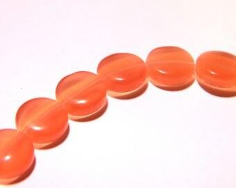 9 beads 10 mm - glass cat's eye - puck flat orange bead flat glass cat F190 3