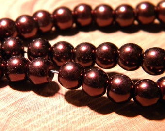 30 pearls Pearly iridescent glass 6 mm - chocolate metallic PF129 10