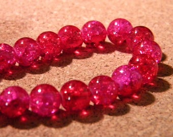 50 glass beads Crackle 2 tones-8 mm - red and fuchsia PE297-2