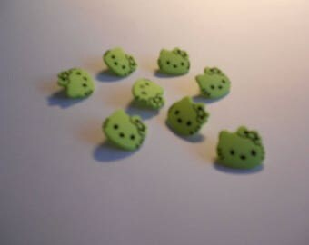 Lime green cat's head button with bow