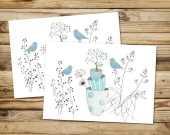 """Set of 2 postcards """"Watercolour birds blue pots"""" FSC paper"""