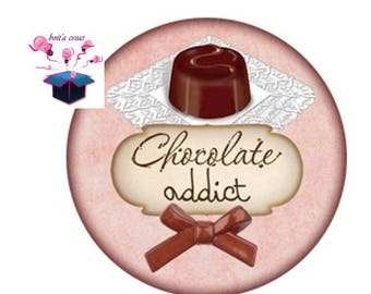 1 cabochon clear 18 mm chocolate theme