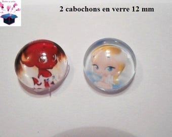 2 glass cabochons 12 mm for loop or ring Angel and Devil theme