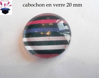 1 cabochon clear 20mm striped theme