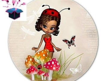 1 cabochon clear domed 14 mm miss Ladybug theme