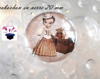 1 cabochon clear 20mm theme miss year 1900