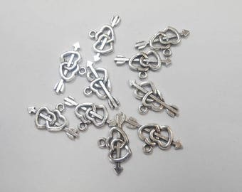 10 charms antique silver heart size 2.2 x 1 cm