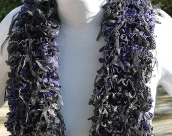 fancy black and blue crazy lace scarf