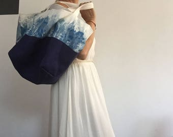 Blue and white tote bag reversible linen and cotton with hand painted insert