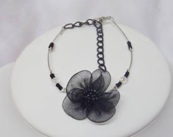 Wedding bracelet bridal swarovski crystal faceted beads and black organza flower
