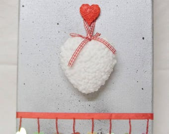 Frame painting on canvas frame white and red heart