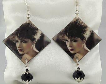 Metal bronze/image/resin charm earrings faceted black/hooks 925 sterling silver