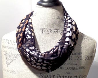 Knit Infinity Scarf Broken Circles in Black, Gray, White, Brown and Tan Made with ITY Stretch Fabric