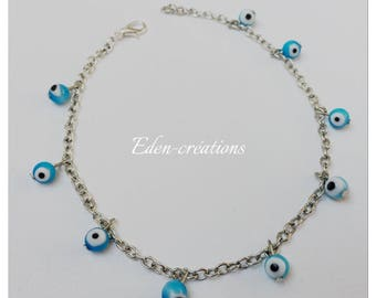Ankle chain, eye beads, lucky, turquoise, silver