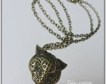 Necklace retro bronze leopard pendant