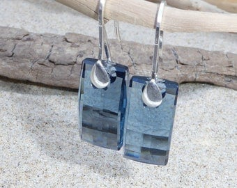 Blue grey Swarovski Crystal and Silver earrings