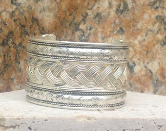 Silver Brass Braided Cuff Bracelet*Handmade In India*
