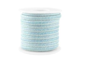 X 20 cm cord leather good quality round 5 mm blue azure