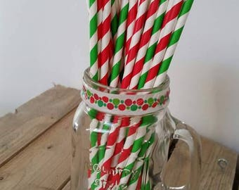 10 x Green striped paper straws