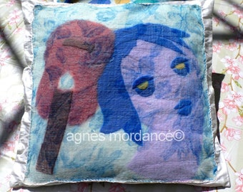 "Felted silk ""saudade"" - 100% silk cushion cover and felted pure - OOAK"