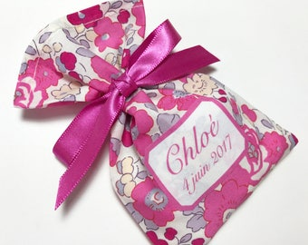 10 sachets favors personalized in Liberty Betsy bougainvillea