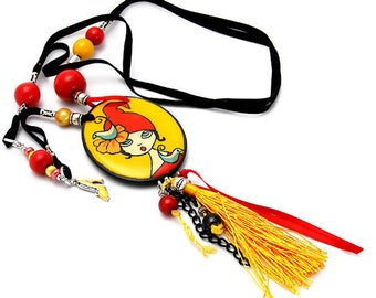 Funny necklace red and yellow.