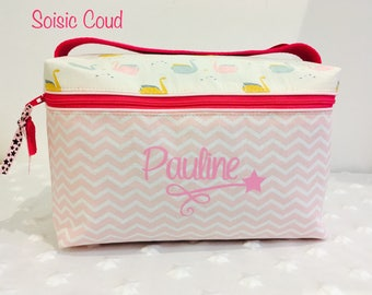 Personalized toiletry bag - cotton / fusible - pale pink / Fuchsia / origami Swan