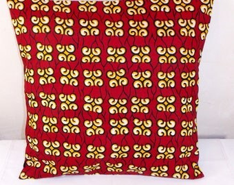 Cushion cover 40 x 40 in Wax fabric African Red and yellow tones, for ethnic decoration