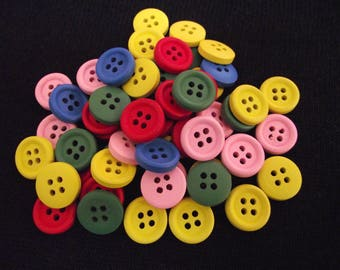 Set of 50 round, wood buttons in various colors. 1.5 cm in diameter