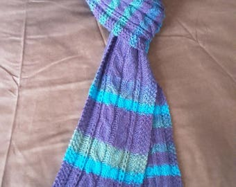 TURQUOISE SCARF HANDKNITTED with wool