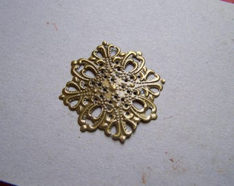 two prints, flower filigree brass connector, set of 2