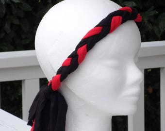 fashionable headband headband jersey linen braid ' eva red and black