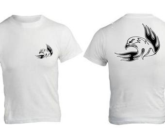 white t-shirt with tribal Eagle