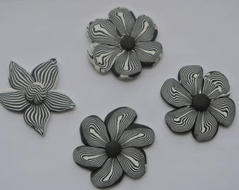 set of 4 polymer clay shapes flowers, stripes