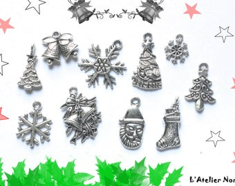 10 charms in silver plated approximately 20mm Christmas Theme