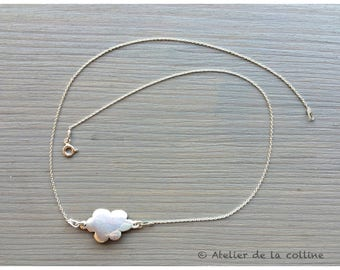 Minimalist dainty necklace in 925 Sterling Silver Oval mesh 925 sterling silver cloud