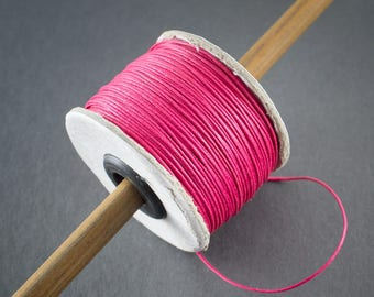 5 yards - thread, waxed cotton cord, round fine 0.8 mm • pink • raspberry