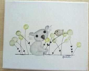 "Small canvas ""koala and bird"""