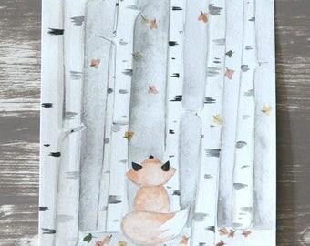 Original watercolor Fox in forest illustration