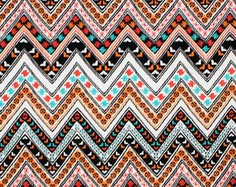 Aztec Festive Chevron Cotton Jersey Blend Knit Fabric **UK Seller**
