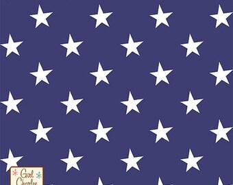 White Stars on Blue Cotton Spandex Knit Fabric **UK Seller**