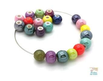 12 glossy, 8-9mm (pc168) ceramic multicolored beads