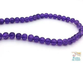 20 purple 6mm beads (pv751) cracked glass beads