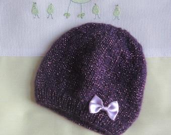 "Size ""birth"" purple glitter - hand made knitted Beanie/Hat"